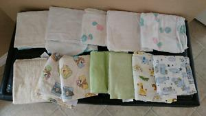 Baby boy clothes, towels, receiving blankets