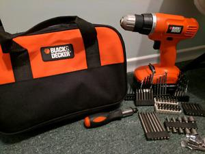 Black and Decker 18v cordless drill set with accessories.