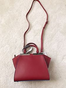 Brand new, authentic, mini size Fendi 3 Jour, deep red