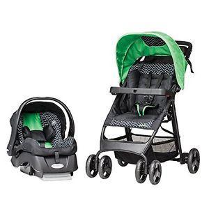 EVENFLO Green Car Seat & Stroller Combo - Expires Oct.