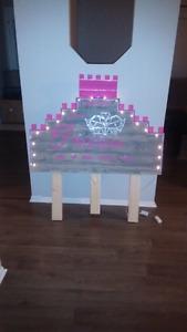 Handcrafted girls light up princess Castle twin headboard