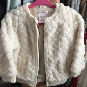 Joe Fresh white faux fur jacket