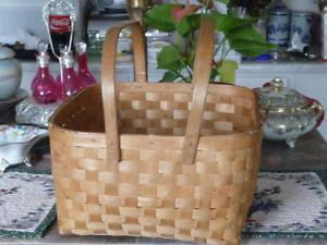 Large Vintage Woven Wood Market Basket With Two Handles