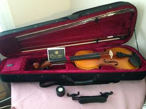 NEW violin 4/4 w/ 2 bows, resin, chinrest, and extra strings