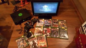 Original xbox console with 2 controllers and 13 games