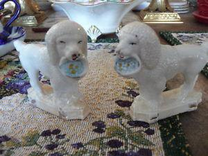 Pair Of Vintage English Staffordshire Poodles With Baskets