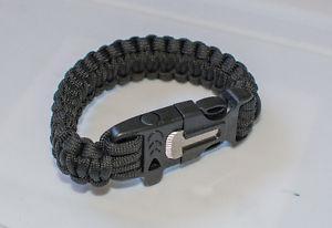 Paracord survival bracelet with whistle and flint striker
