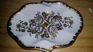 Porcelaine De France Hand Painted Gold Rose Tray