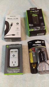 Portable phone charger,10ft phone cord,wall plug and padlock