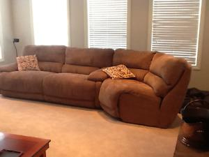 Reclining, powered 3 piece sofa, loveseat and