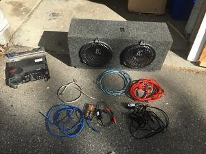 """2 10"""" JL subs in box, with 2 amps"""