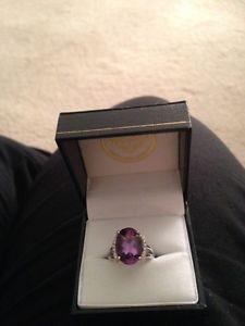 Amethyst & Diamond Ring in S/S w/ 6ct Amethyst 0.25 ct
