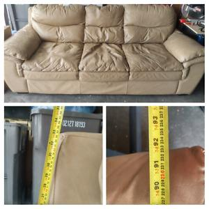 "Beige Leather Sofa and Love Seat, 92"" sofa and 72"" love"