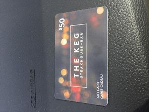 Keg steakhouse giftcard worth 50$