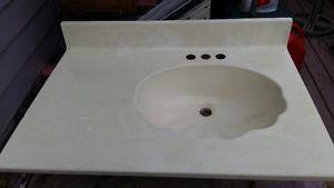 Marble vanity top - seashell design - 3 holes