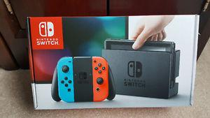 New Nintendo Switch With Neon Blue & Red Controllers Sealed