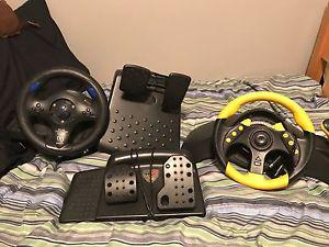 Play station two and game cube racing wheel