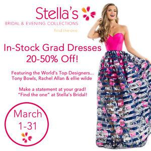 STELLA'S GRAD DRESS SALE! ALL IN STOCK GOWNS 20 TO 50% OFF!