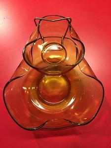 Vintage Amber chip and dip bowl set