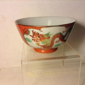 Vintage Asian Chinese Signed Porcelain Cup Bowl Dragon and