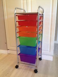 Wheeled Cart - 7 Drawers & Top Shelf