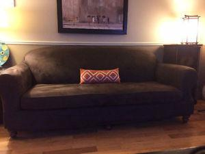 couch, couch cover, chair, and ottoman