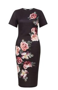 Fitted black floral midi dress size 12