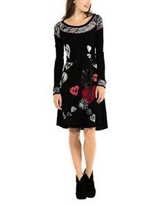 NWT DESIGUAL BLACK LONG SLEEVE HEARTS NOELIA DRESS SIZE XL