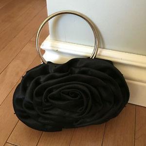 Small Black Rosette Evening Bag Purse