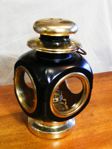 Vintage Black Carriage Style Oil Lamp
