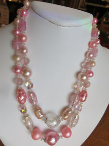 Vintage Necklace Crystal & Pink Lucite Bead 2 String s