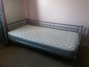 1.5 year old Twin mattress and grey IKEA metal bed frame