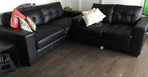 Art leather sofa in excellent condition