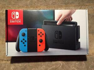 BNIB Nintendo Switch Neon Red/Blue with extras