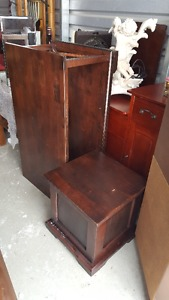 Beautiful Dark Solid Wood X Coffee Table & Storage End Table