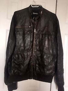 Guess Men's brown leather jacket XL