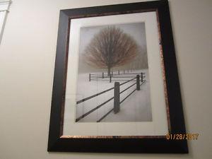 Tree Snow Winter Fence Print