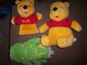2 hand puppets and a Winnie the Pooh