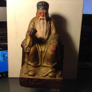 "Antique Large Statue Chinese God Ceramic 12"""