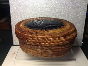 Antiques Indian Native Wicker Box and Carved Wood