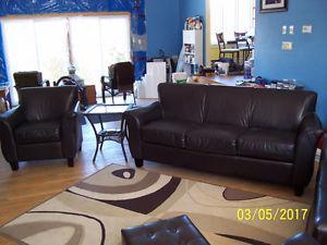 Chocolate Brown Leather 5 Pc Sofa set