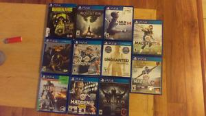 Games for sale or trade for headset or ps4 controller