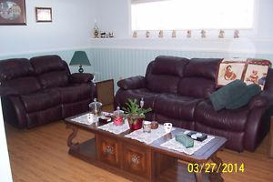 LEATHER RECLININING SOFA & LOVE SEAT