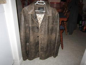 Mens Size Large BKE 67 Brown Leather Jacket For Sale