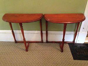 Pair of Vintage Maple Half Moon Tables