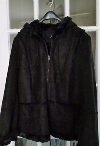 "Size ""Medium"", BLACK Faux Suede Jacket"
