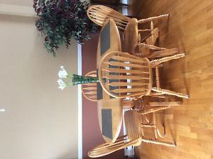 Solid oak dining room set with matching hutch