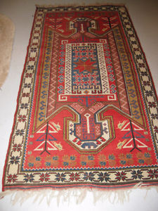 UNIQUE TRIBAL PATTERN RUG, HANDMADE WOOL, EXCELLENT