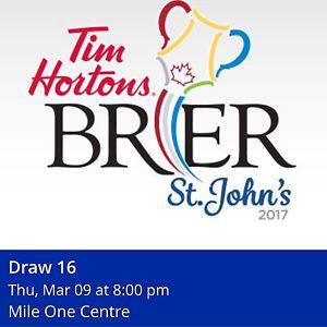 Wanted: WANTED: 1 ticket to Brier draw 16 Thursday 8pm