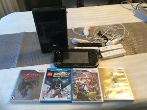 Wii U plus controllers and 5 games for sale